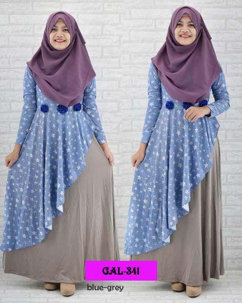 Koleksi Gamis Cantik :  Kode : GAL-341, Nama : Gamis Miss Arabian Layer 2, Harga : IDR 165, Warna : Biru - Abu, Bahan : Jersey & Denim