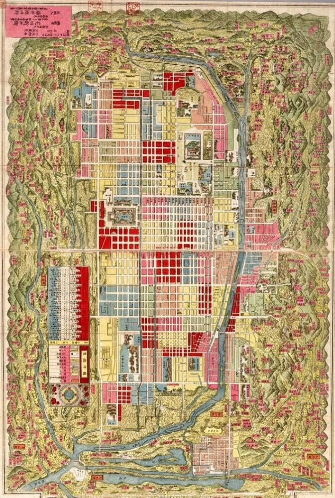 World Map Moscow%0A      Japanese map of Kyoto  By Shibata  Shinb    Reoriented to put north at