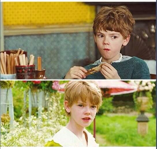 """HAHAHA he looks like he is saying """"Oh no dad is back run for it."""" in the first and the second one looks like he is saying """"what on earth is THAT?"""" #funny #Young #ThomasBrodieSangster"""