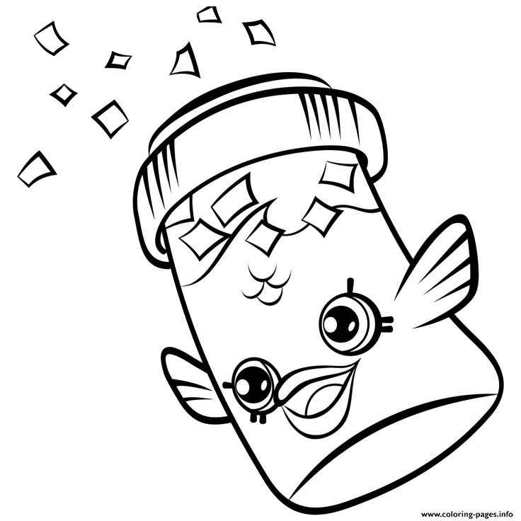 Print Fish Flake Jake Petkins Shopkins Coloring Pages