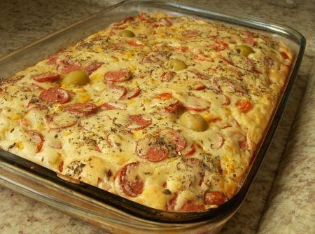 Torta de salsicha de liquidificador - Veja mais em: http://www.cybercook.com.br/receita-de-torta-de-salsicha-de-liquidificador.html?codigo=17304