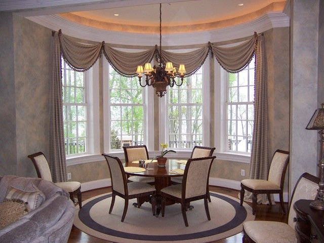 Contemporary Dining Room With Window Treatments For Bay Windows