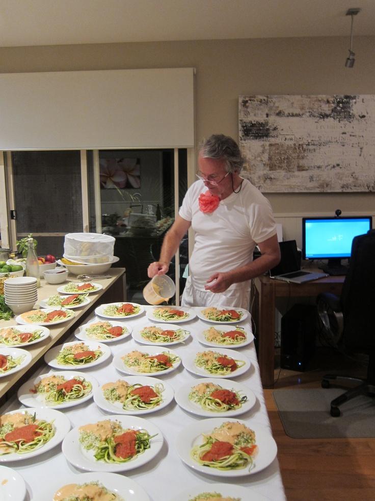 ... and Raw Spaghetti with Tomato Sugo and Mushroom Medalions.. delish