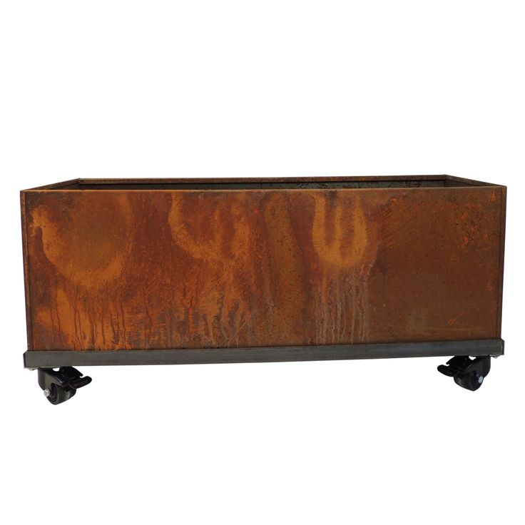 Nice Planter Corten Steel Trough on Casters | from hayneedle.com