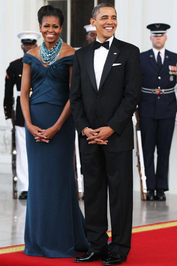 March 14, 2012  The First Lady looks regal in Marchesa as she joins President Barack Obama to welcome U.K. Prime Minister David Cameron and his wife Samantha at the White House.
