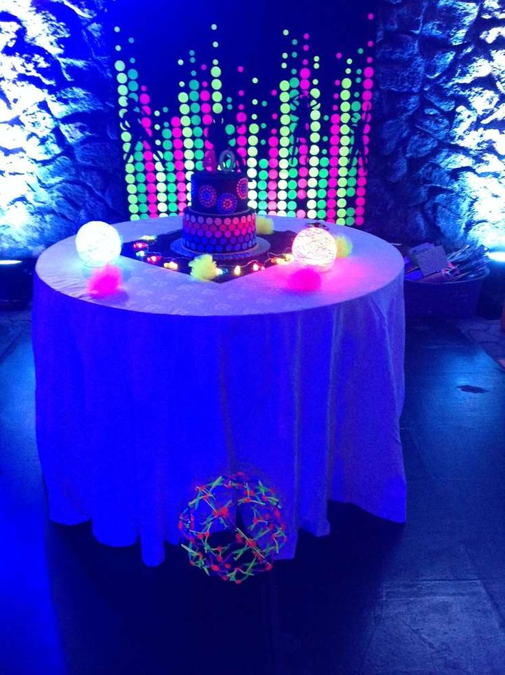 What a fun neon glow in the dark birthday party! See more party ideas at CatchMyParty.com!