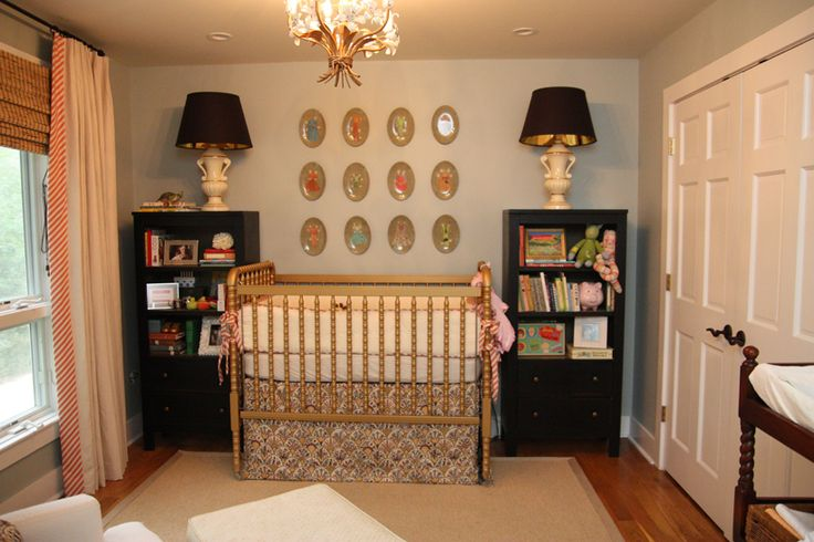 Bookcases, gold Jenny Lind, crib skirt tutorial