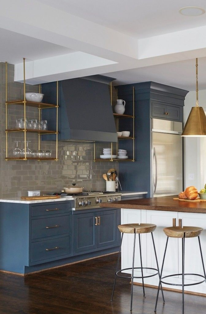 Lovely Blue And White Version Of The Two Tone Kitchen, With Warm Metallic  And