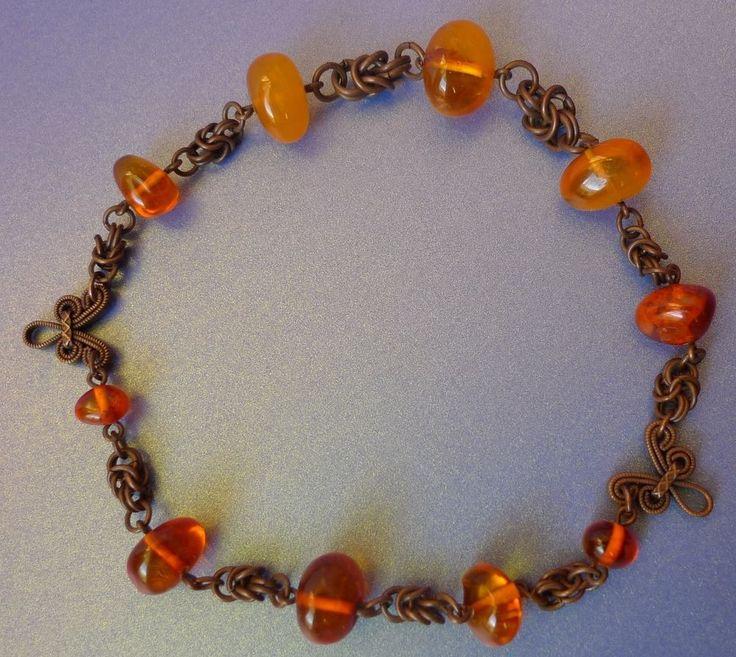 Latvian Natural Yellow Honey Cognac Baltic Amber gem BRACELET round beads 14g