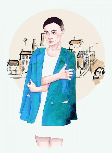 Dziewczyna w niebieskim płaszczu