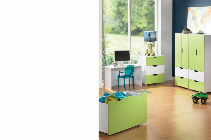 Cover your kids room in green with Flatpax Kids furniture. #kidsfurniture #kidsdrawers #kidsdesk #kidswardrobe