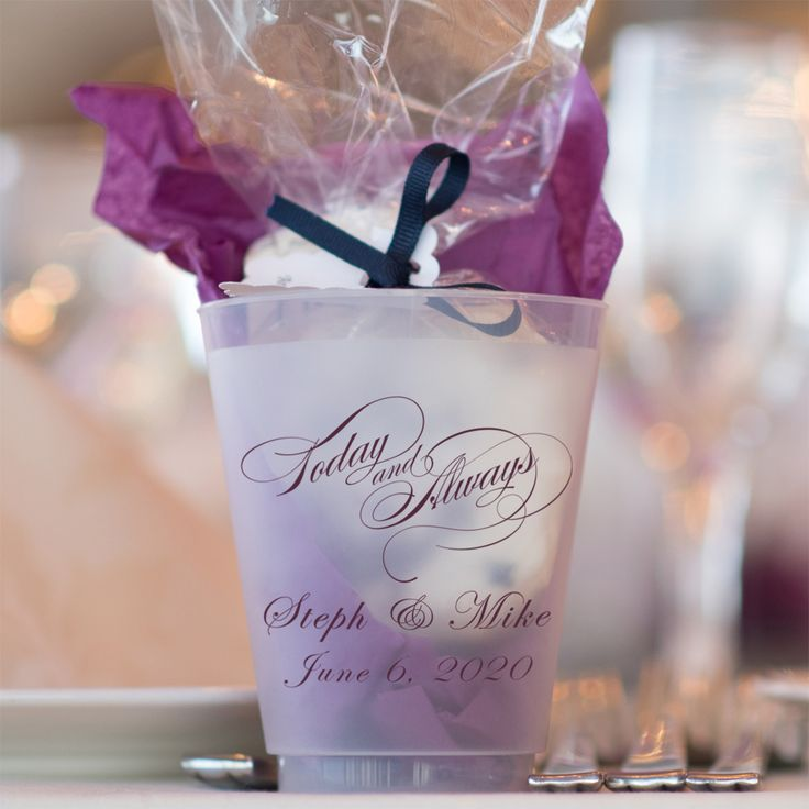 Personalized frosted cup used for wedding favor souvenirs with WLV02 design and two lines of print in Regal lettering style and Eggplant imprint color