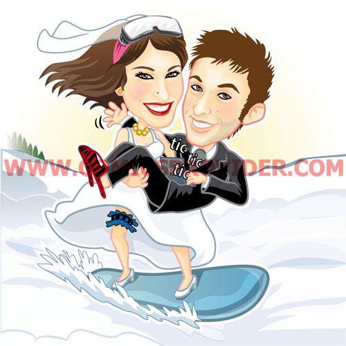 Caricatura vettoriale, sposi su snowboard