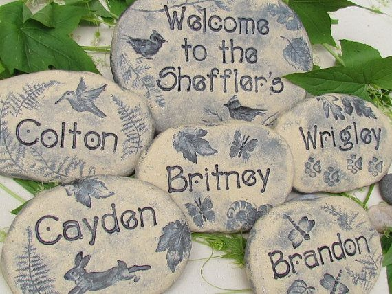 Personalized Custom Garden Stones. Garden markers. Quality HANDMADE clay sculptures / Etched lettering, designs. Set of 6 Custom stones