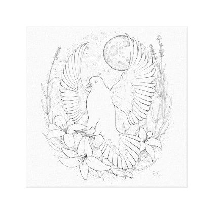 White peace pigeon sitting on a flower canvas print - wedding decor marriage design diy cyo party idea
