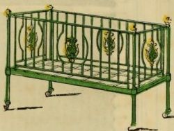 "Strong iron crib, ornamented"" for a Victorian baby"