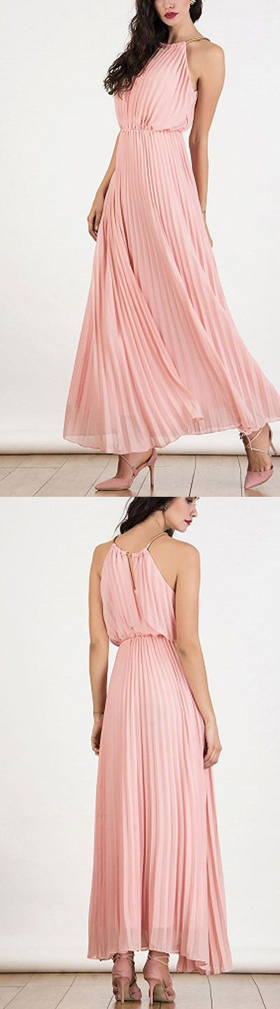 chiffon halter pink dress - other color red,baby green and black  for parties and occassions