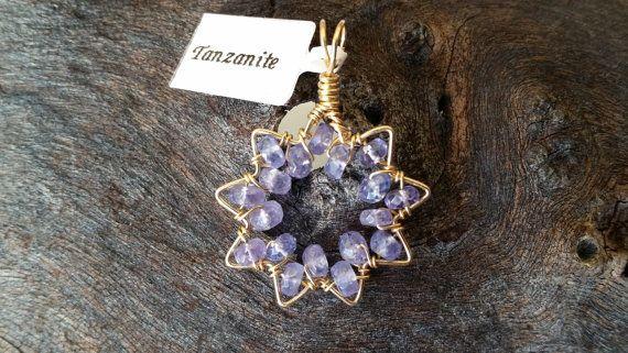 Tanzanite 9-Pointed Star 14k Goldfilled Wirewrapped Pendant Handmade Bah�'i Star Symbol Gemstone Pendant