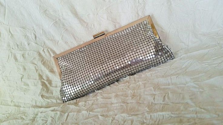 Vintage Ladies Purse, Silver Metallic Mesh Evening Bag, Shoulder or Clutch