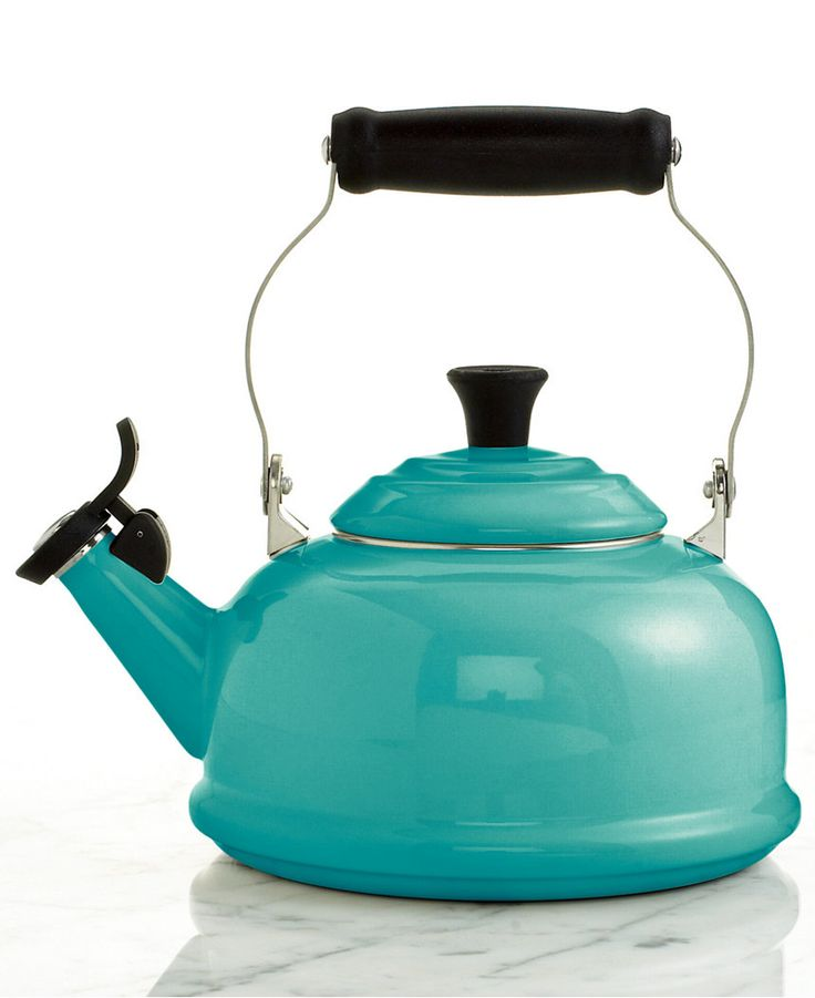 This beautiful Le Creuset Classic Enamel on Steel 1.7 Qt. Whistling Tea Kettle in an exclusive turquoise shade will remind you to take a break. Features a unique locking handle and phenolic knob ma…