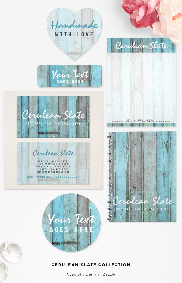 Cerulean Slate Collection: Brilliant turquoise shades of rustic, chippy goodness! This design features a full wood background with clean, stylish text. Elegant essence of barnwood. It's the perfect boutique branding statement for that natural, boho vintage vibe! CyanSkyDesign on Zazzle.