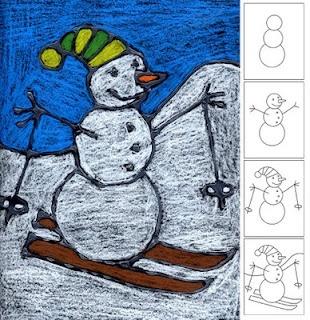 Art Projects for Kids: Snowman Skiing Dessin tracé à la colle sur papier noir, remplir au pastel gras. La colle permet de conserver les lignes noires.