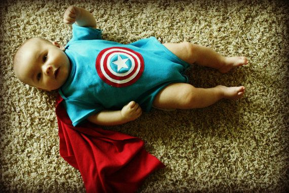 Captain American Baby Bodysuit with Builtin Cape by kendascrafts, $35.00