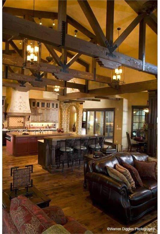 Living - dining - kitchen open floor plan Old world design-Home and Garden design ideas- love open houses with beams