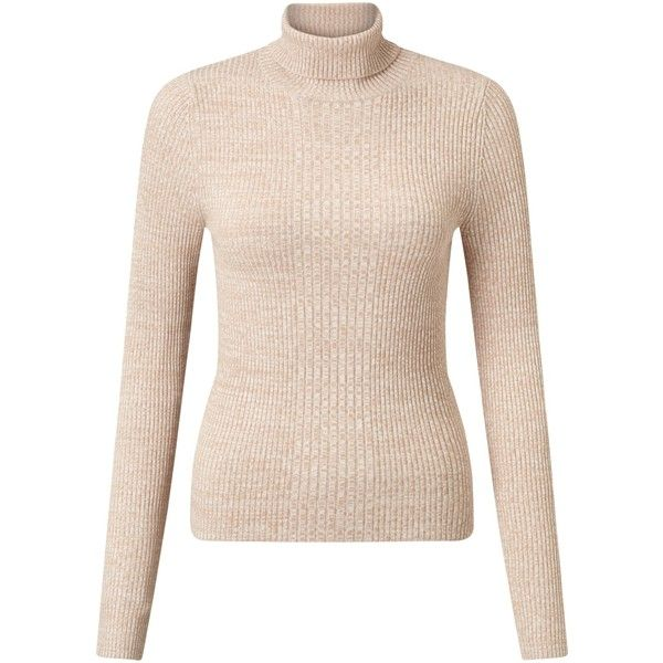 Miss Seflridge Ribbed Roll Neck Jumper , Camel (€21) ❤ liked on Polyvore featuring tops, sweaters, camel, jumpers sweaters, rayon sweater, pink top, ribbed top and pink sweater