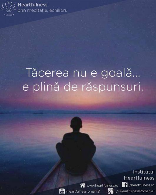 Tăcerea nu e goală... e plină de răspunsuri. #cunoaste_cu_inima #meditatia_heartfulness #hfnro Meditatia Heartfulness Romania