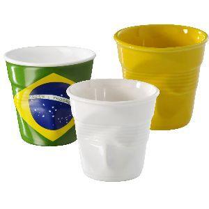 REVOL Coffret de 3 gobelets Drapeau Brésil / Jaune / Blanc 8 cl - Froissé