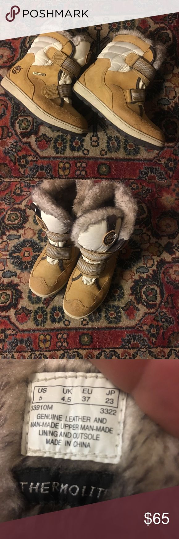 Childs timberland thermolite golden suede boots TIMBERLAND childs size 5 golden suede THERMOLITE snow boots Good condition TIMBERLAND Shoes Boots