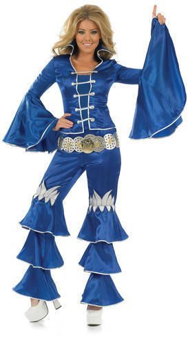 Blue Dancing Queen 70s Fancy Dress Ladies Costume 1970s Disco Abba Outfit 6-22 #Funshack #CompleteOutfit