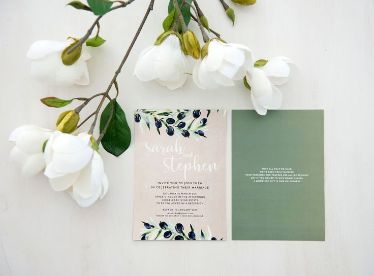 Olive branch inspiration for this wedding invitation