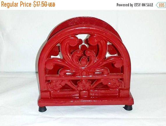 Vintage RED Cast Iron Napkin Holder,RED,Enamel Napkin Holder,French Country,Rustic,Farmhouse Decor,Red Lattice,Country kitchen,Country Decor by JunkYardBlonde on Etsy