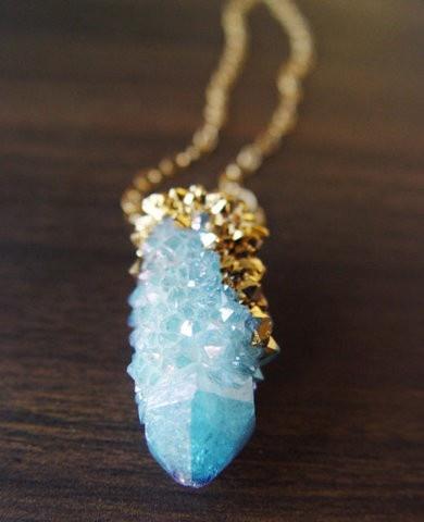 Spirit Aqua Aura Quartz Drusy Gold Dipped Necklace