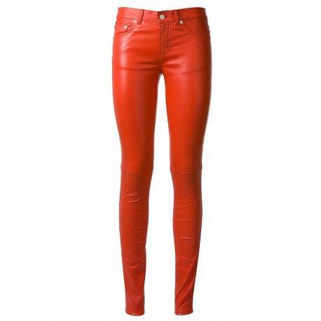 Кожаные красные стрейчевые штаны ручной работы SitriX