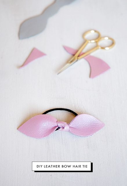 DIY Leather bow hair tie in 5 minutes! Print and cut the pattern. Trace it onto your piece of leather, and cut out. Add the hair tie and knot. That's it!