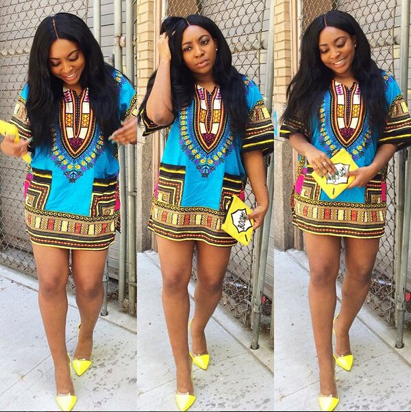 Fashion O Neck Half Sleeves Print Light Blue Polyester A Line Mini Women Dress @AnnieLoveAJ☽♥☾