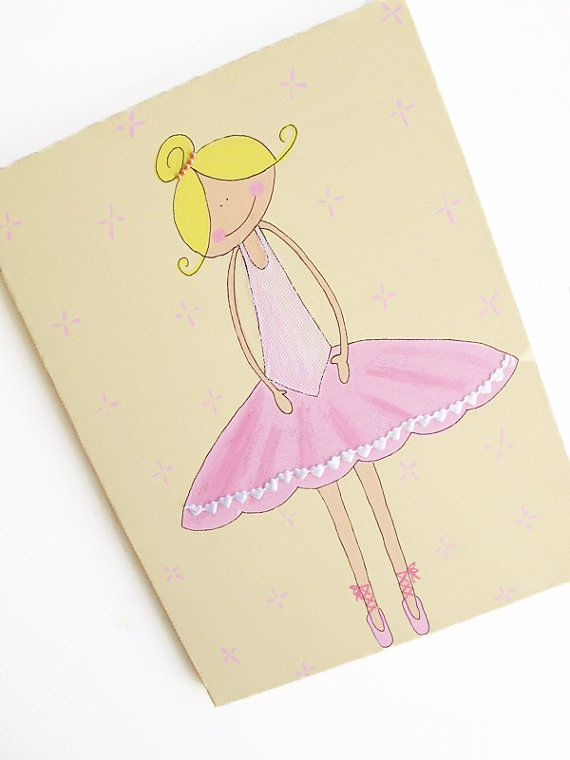 Kids wall art pink and cream ballerina canvas painting by Shellyka.