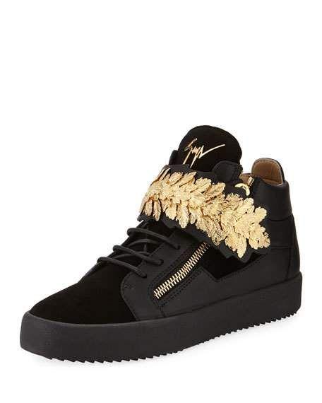 21de492ed Men s Mid-Top Sneakers with Gold Leaf Strap Black