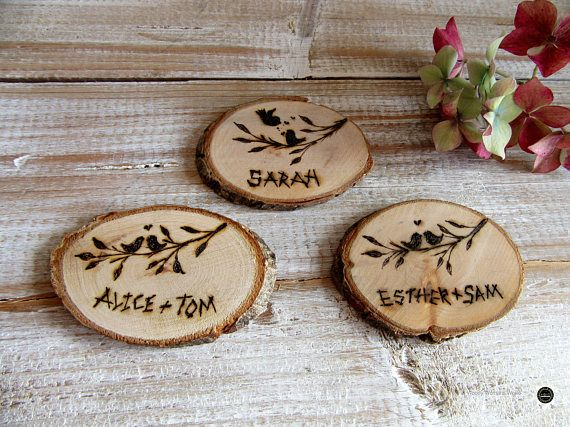 Wooden wedding  Slices   place names  name cards