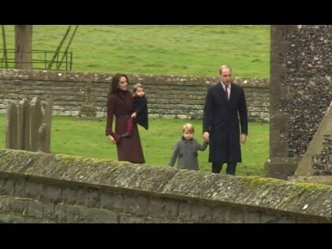 William, Catherine, George & Charlotte arriving for Christmas morning ch...