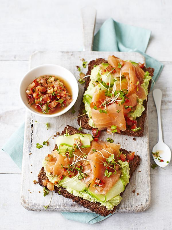 Avocado and smoked salmon toasts.