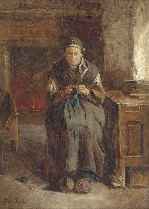 Jozef Israëls - Vrouw breit bij het haardvuur