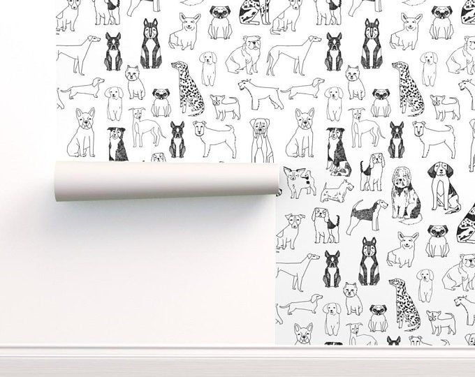 Curious Fish Large Scale Black Peel N Stick Or Etsy Black And White Wallpaper Dog Wallpaper Geometric Wallpaper