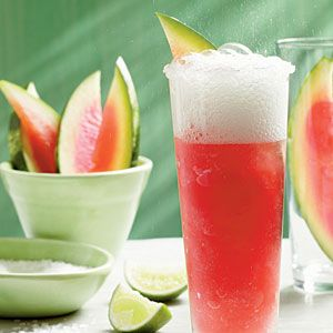 Watermelon Bellini from Southern Living via Myrecipes.com ~  1 lime 2 to 3 Tbsp. coarse sugar  3 cups frozen seedless watermelon  1 cup sparkling wine, chilled 2 tablespoons sugar  Pinch of salt Additional sparkling wine Garnish: watermelon wedges
