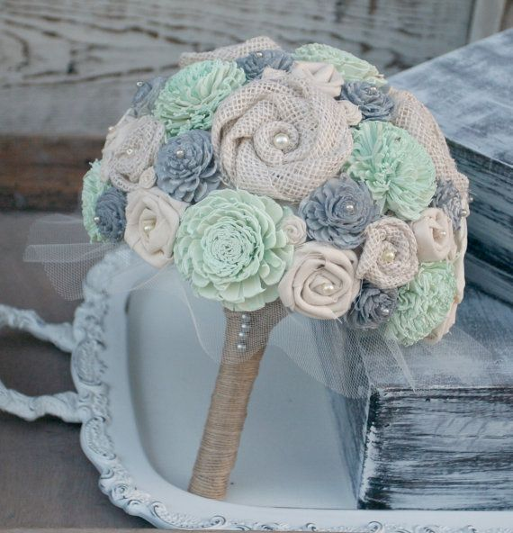 Gray And Mint Green Wedding Bouquet Bridal Grey Sola Flower Burlap Wood In 2018