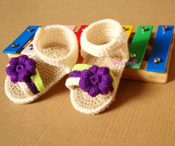 Cream crochet baby sandals handmade crocheted girl por TheCCVillage
