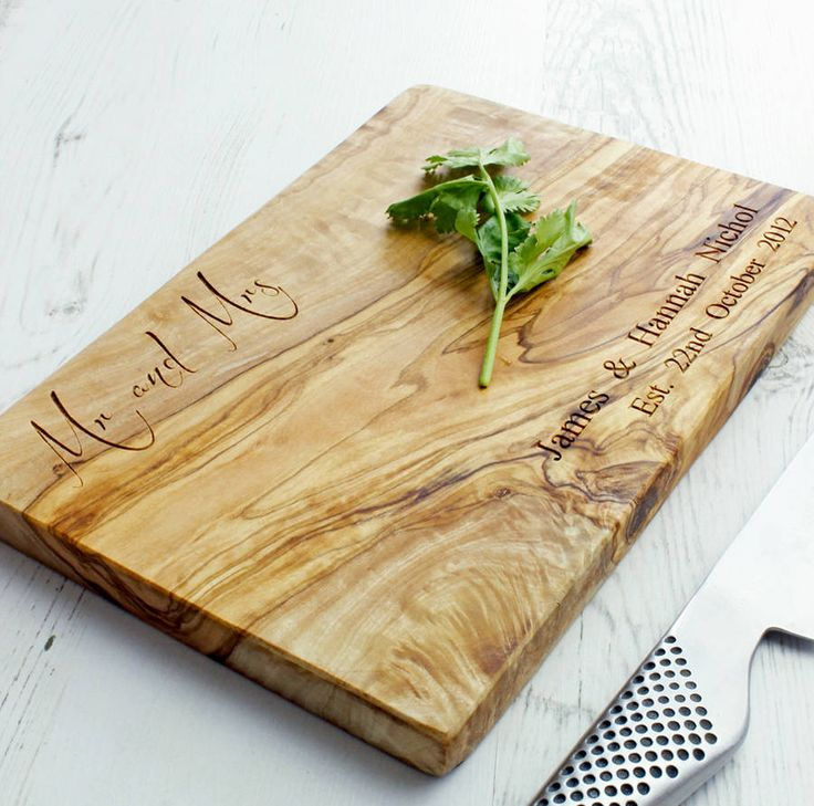 'mr and mrs' olive wood chopping board by the rustic dish | notonthehighstreet.com